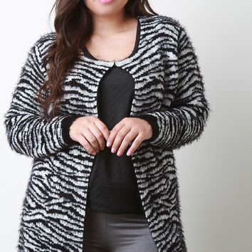 Animal Stripe Fuzzy Cardigan