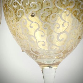 Gold hand painted wine glasses, gold wedding wine glasses, Swarovski Crystal wine glasses, anniversary wine glasses, wedding wine glass set