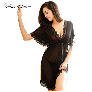 Shirt sleep nightgowns Sleepwear nightdress Women's sexy sleepwear sexy  women's nightgown  women sleep wear sets with g string
