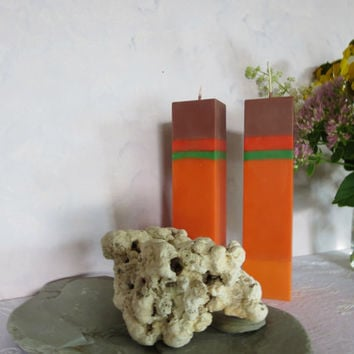 Holidays candles scented with autumn leaves, square, tall, fall colors candles, autumn colors soy scented candles,