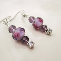 Purple Amethyst Crystal Beaded Earrings with Silver Fishhook Posts