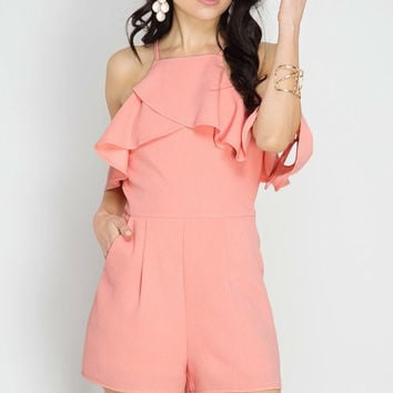 Cold Shoulder Romper - Peach