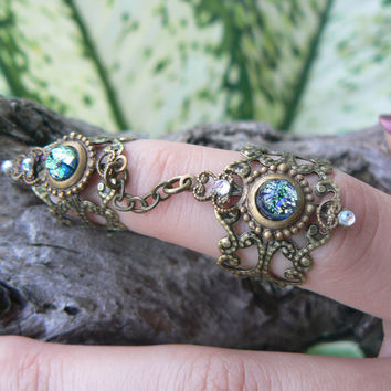 double armor ring chained ring statement ring Emerald green Fire Opal