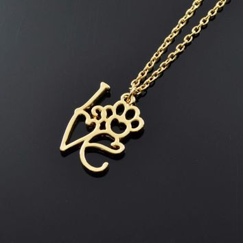 Fashion  Hollow Love Letter Pendant Necklace  Dog Feet Chain