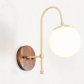 Mid Century Modern Sconce, Wall Lamp, Wall Sconce, Brass Lamp- Willow Sconce