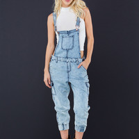 Acid Washed Away Jogger Overalls GoJane.com