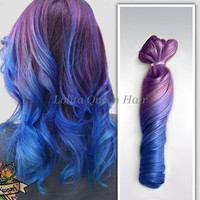Lavender Blue Ombre Hair Extensions,Two Tone Ombre Indian remy hair extension,Balayage Dip Dye 8A Hair,3 bundles hair weft one set