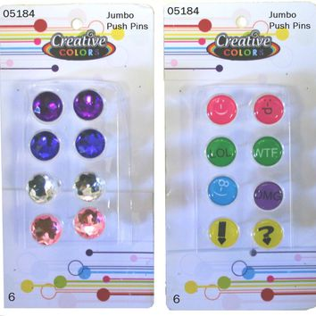 Jumbo Rhinestone & Emoji Pushpins - CASE OF 48