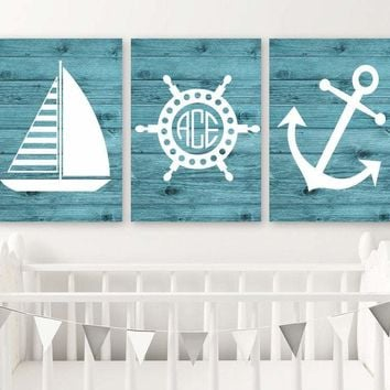 Nautical Wall Art, Nautical CANVAS or Print Nautical Nursery Decor, Sailboat Anchor, Nautical Monogram, Baby Boy Nursery Decor, Set of 3