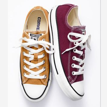 Converse All Star Adult  Sneakers Low-Top Leisure shoes Wine red-yellow