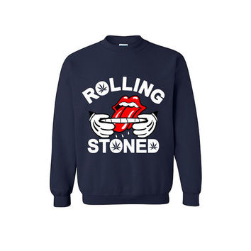 Rolling Stoned Funny Graphic Sweater Legalize Marijuana Marijuana Clothing Legalize Weed 420 Tees Blunt Rolling Tray Stoner Shirt Weed Leaf