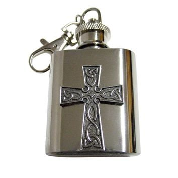 Celtic Design Large Cross 1 Oz. Stainless Steel Key Chain Flask