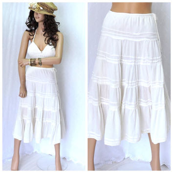 Boho white gauze beach skirt S/ XS, white cotton prairie skirt, summer tiered skirt, bohemian beach clothing, SunnyBohoVintage