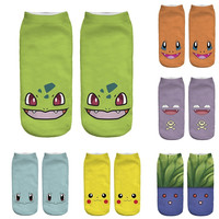 2016 New Arrival Kawaii Harajuku Pokemon Sock 3D Printed Cartoon Women's Socks Pikachu Novelty Low Cut Ankle Cute Socks Meias