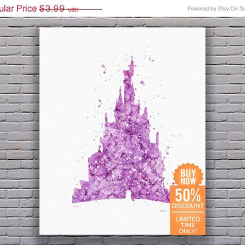 Disney Castle Belle Disney Nusery Disney Princess Print Nursery Art Girl Artwork Watercolor Disney Watercolor Print Digital Download Art