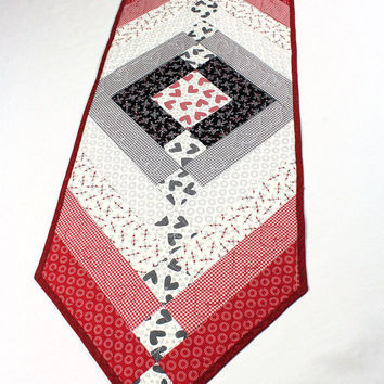 French Braid Quilted Table Runner, Hearts Table Topper, Red, White and Black Valentine's Day Quilt, First Crush by Sweetwater for Moda