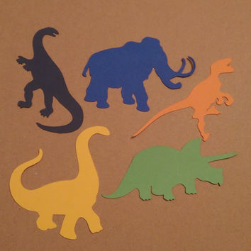 40 Paper Die Cut Dinosaurs, Scrapbooking, Card Making, Birthday Party Decoration, Baby Shower Theme
