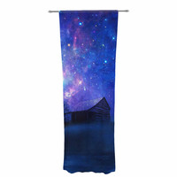 "Viviana Gonzalez ""Beginning"" Blue Galaxy Decorative Sheer Curtain"