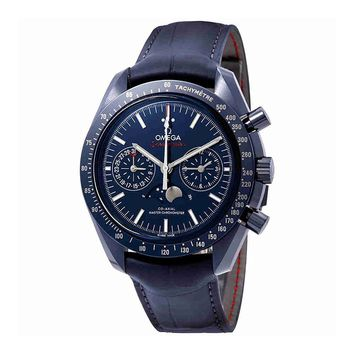 Omega Speedmaster Blue Ceramic Dial Automatic Mens Moonphase Watch 304.93.44.52.03.001