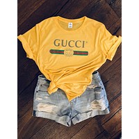 """Gucci"" New Fashion Summer Hot Letters Print Women Men T-shirt Top Yellow"