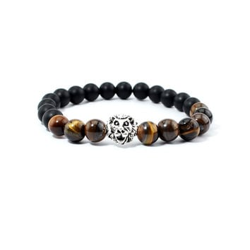 Tiger Eye Lion Head Bracelet Buddha beads Bracelets Bangles Charm Natural Stone Bracelet Men Jewelry pulseras hombre