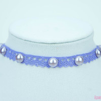 Kawaii Fairy Kei Pastel Goth Sweet Lolita Purple Lace Choker with Pearl Cabochons