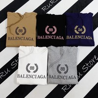 """Balenciaga"" Casual Fashion Letter Pattern Solid Color Olive Branch Long Sleeve Hooded Sweater Women Hoodie Tops"