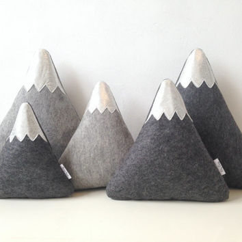 Mountain Pillows, Mountain Plushies, Mountain Softies,  Mountain Nursery Decor, Baby gift, baby decor, Nursery gift, mountains snowy tops