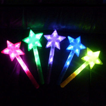 LED Magic Star Glow Stick Pentacle Flashing Lights up Glow Fun Toys For Party Ceremony Halloween Outdoor Camping Rondom Color