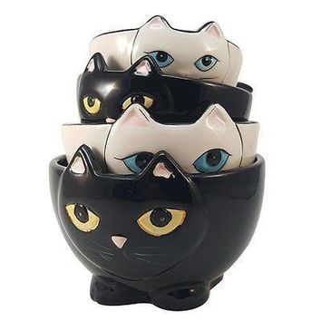Adorable Ceramic Black and White Cats Nesting Measuring Cup Set of 4 Creative Ki