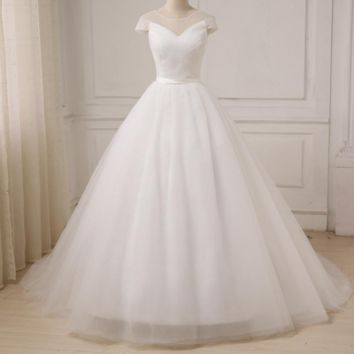 Tulle White Ivory Ball Gown Wedding Dresses for Bride Dress gown Vintage