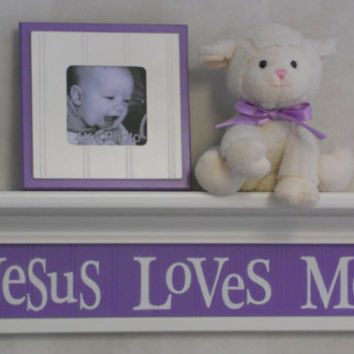 "Purple Nursery Decor - Jesus Loves Me - Sign on 24"" Linen White Shelf with Lavender Sign Unique Christian Wall Art for Nursery"