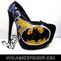 Batman themed heel design with Crystal Rhinestones by MadeByBunny