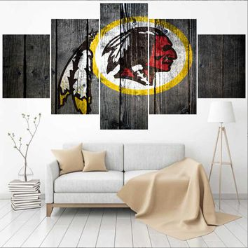 5 Panel Washington Redskins Logo Canvas Painting Calligraphy Modern Home Decor Living Room Wall Art Decorate Poster