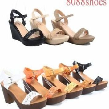 Women's Cute Stylish Platform Wedge  High Heel Sandal Shoes Size 5 - 10 NEW