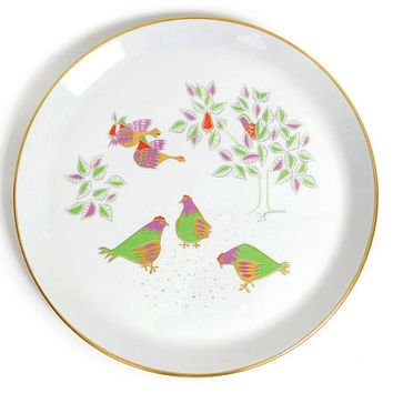 Mid Century Modern Christmas Plate - 1966 Shenango Twelve Days of Christmas- Three French Hens by Dick Litzel - Mod Holiday Dinner Dish