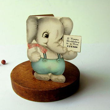 Vintage Happy Birthday Card to Cousin, An Elephant Baby Animal Card Hallmark 1939 Textured Greetings Suspenders Paper Ephemera Supplies Art
