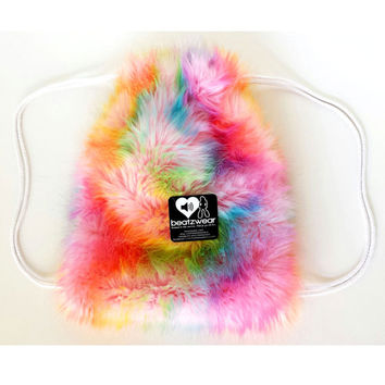 PREMADE FuZzy backpack rainbow tie dye drawstring backpack rave fluffies bag faux fur purse festival fashion