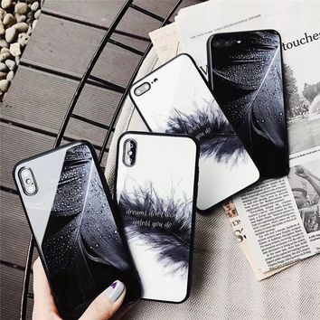 Original Tempered Glass Phone Case For iPhone 6 6S 7 8 Plus X Colorful Peacock Shockproof Feather Phone Back Cover hard Cases