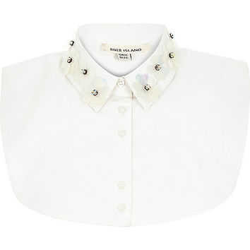 River Island Womens White 3D embellished collar bib