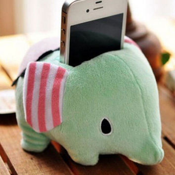 Elephant Plush Doll Mobile Phone Holder Home Office