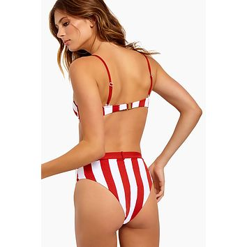 Emily Belted High Waist Bikini Bottom - Burnt Red Stripes