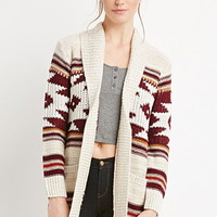 Geo-Patterned Open-Front Cardigan