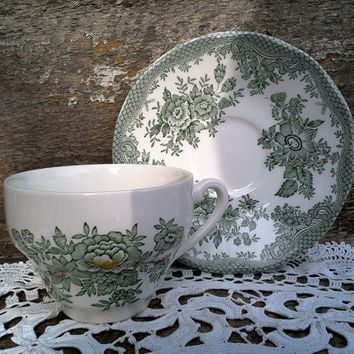 Green Transferware, Tunstall Enoch Wedgwood Kent Pattern, Tea Cup and Saucer, Roses, Asiatic Pheasants, England, Serving, Kitchen