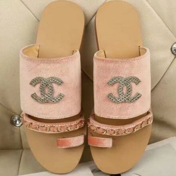 CHANEL Flat bottomed recreational sandals