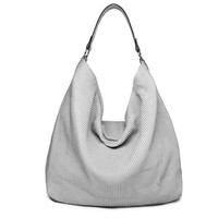 2016 New Simple Stylish Handbags Silver Grey Large Capacity Hobos Shopping Bags For Women Soft Corduroy Tote Shoulder Bag ZD283