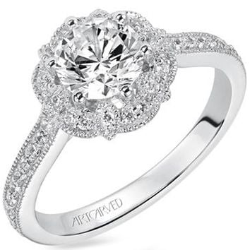 "Artcarved ""Lanice"" Halo Engraved Engagement Ring"