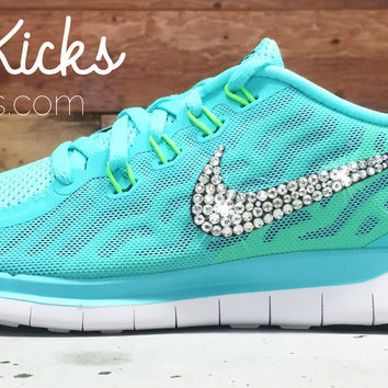 Women's Nike Free 5.0 Running Shoes By Glitter Kicks - Hand Customized With Swarovski Crystal Rhinestones - Tiffany Blue/White