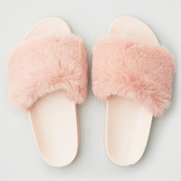 AEO Faux Fur Pool Slide, Blush