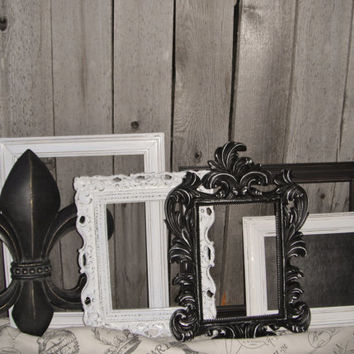 Paris Chic Nursery - Fleur de Lis and chalkboard - PICTURE FRAMES - Shabby Chic - Wedding - w/ Glass N Backing